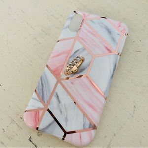 Accessories - BN Pink Geo Marble Iphone XR Case w/Ring